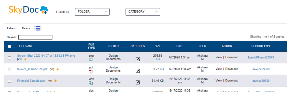 skydoc netsuite transaction record
